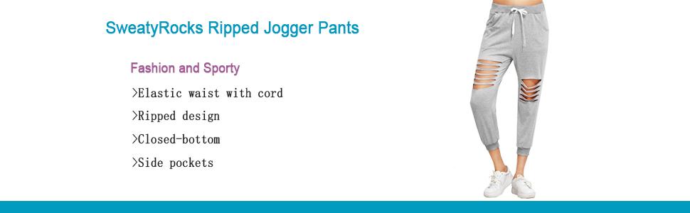 8707260c30006 Amazon.com  SweatyRocks Women s Ripped Pants Drawstring Yoga Workout ...