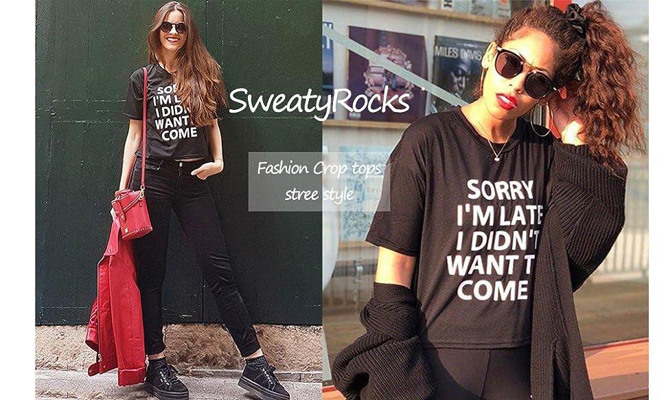 749c931265323 SweatyRocks Women s Short Sleeve Print Crop Top T Shirt Black  1 S ...