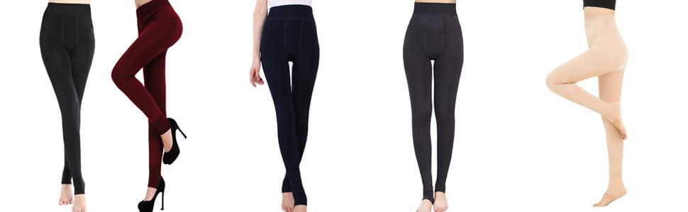 50e91c8864b8c4 Women's Winter Warm Fleece Lined Tights High Waisted Elastic Leggings Pants