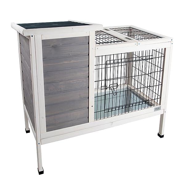 Amazon.com: Petsfit Rabbit Hutch Grey, Guinea Pigs Cage, Bunny ...