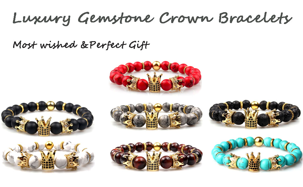 Luxury Charm Bracelet Imperial Crown Bead Bracelet King/&Queen Gift for Women Men King and Queen Bracelet