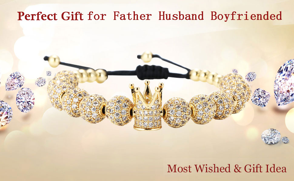 luxury crown bracelet for father boy friend