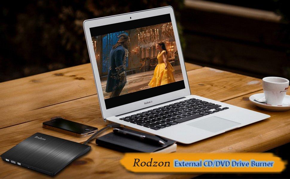 External CD Drive, Rodzon USB 3.0 CD/DVD +/-RW Drive, Compact DVD CD ROM Writer/Rewriter/Burner, High Speed 5Gbps for ...