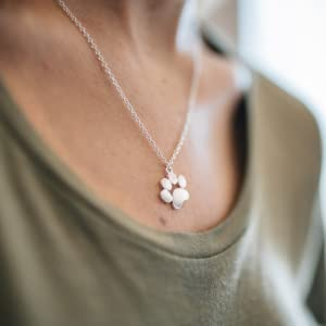 woman necklace young girl 925 silver necklace rose pearls dog paw charm