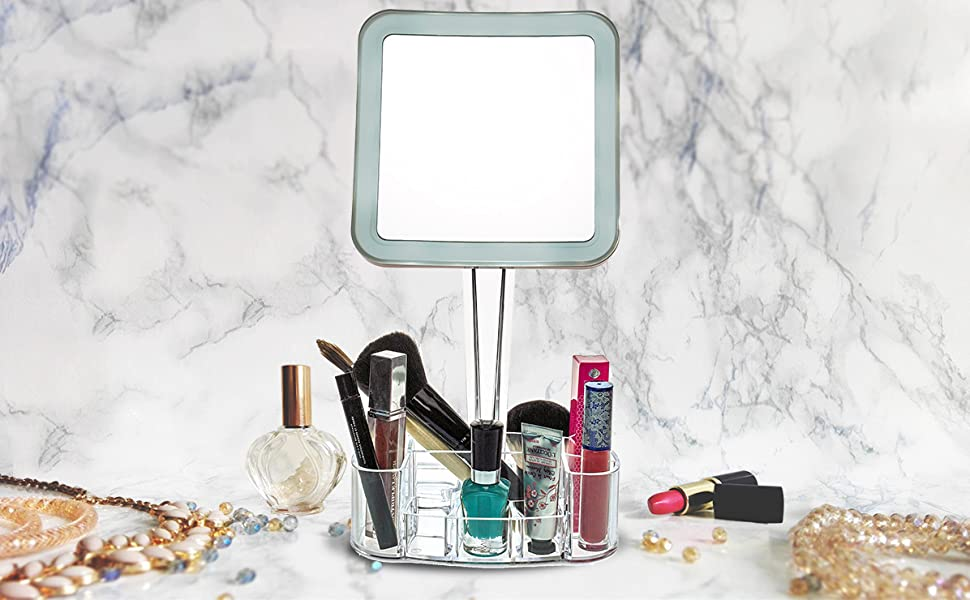 daisi Magnifying Lighted Makeup Tabletop Mirror with 360⁰ Rotation LED Lighted Free Standing Double-Sided Bathroom Mirror for Vanity or Desk Standard 1X /& 7X Magnification