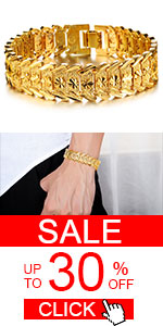 Men's Fashion 18k Yellow Gold Plated Link Bracelet Carving Bangle