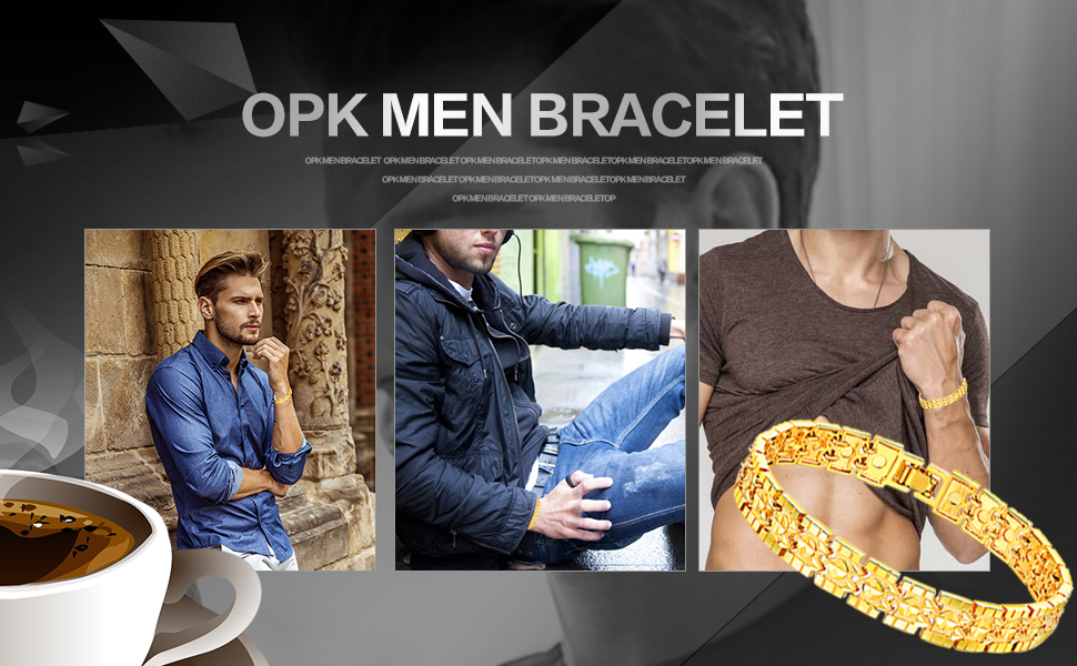 55844d8c1 Opk Jewelry Luxury Gold Plated Men's Bracelets Chain Link Bangle ...