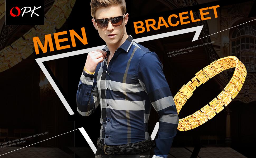 587317ea3 Opk Jewelry Luxury Gold Plated Men's Bracelets Chain Link Bangle Gold  Bracelet
