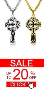 Stainless Steel Large Celtic Cross Irish Knot Pendant Necklace