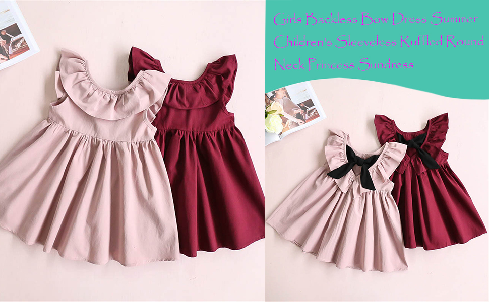 Girls Backless Bow Dress Summer Children's Sleeveless Ruffled Round Neck Princess Sundress