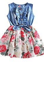 Girls Sleeveless Denim Tops Floral Tutu Skirts