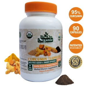 Be On Organic Turmeric Curcumin with BlackPepper, Ginger, 95% Curcumin  Formula 1500mg