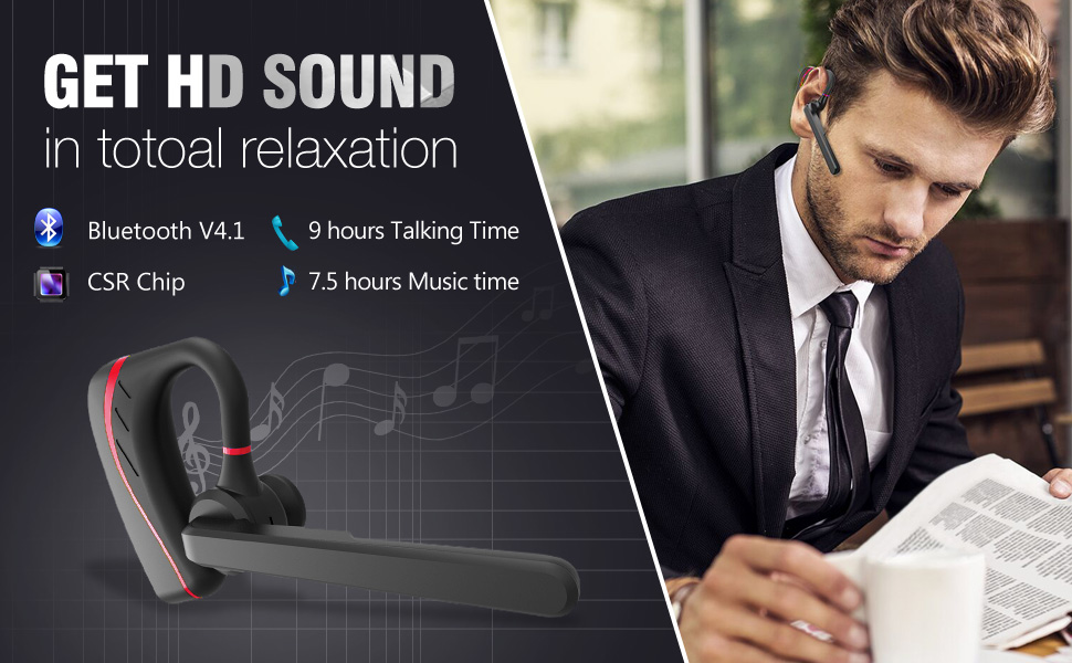 HD sound - Bluetooth version 4.1 + 9 hours talking time + 7.5 hours music time