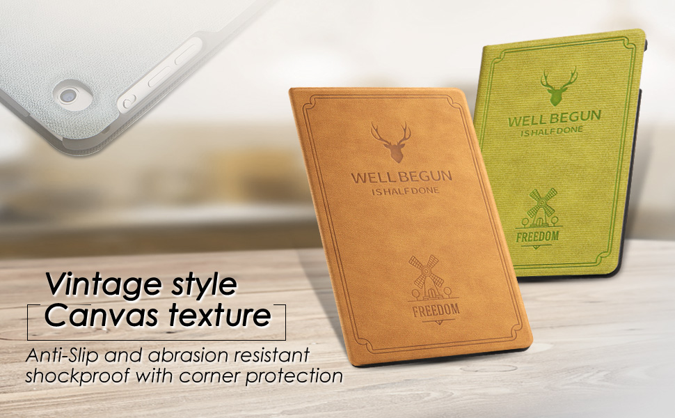 vintage style canvas texture - anti slip and abrasion resistant shockproof