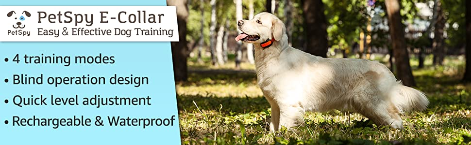 PetSpy E collar for easy and effective dog training rechargeable and waterproof