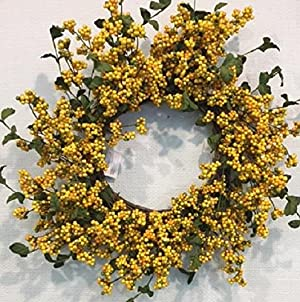 YELLOW U0026 GREEN BERRY WREATH By Wreaths For Door Is A Perfect Indoor Fall  Decorative Accessory To Hang Above A Fireplace Or On A Kitchen Or Living  Room Wall.