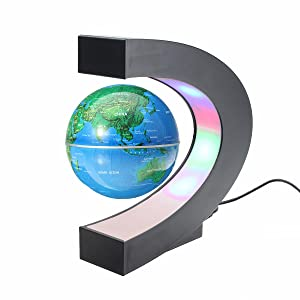 meco 3 39 39 funny c shape magnetic levitation floating globe world map with colored led. Black Bedroom Furniture Sets. Home Design Ideas