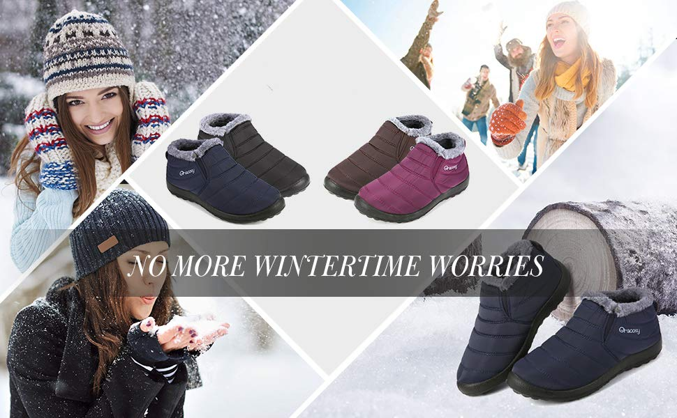 2e47ad88d2 gracosy Women s Winter Ankle Boots with Warm Lined Waterproof Ankle Short  Boots