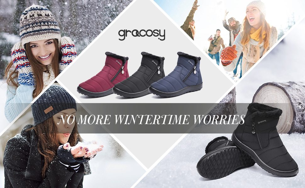6c55c95c7 gracosy Warm Snow Boots, Women's Winter Ankle Bootie Anti-Slip Fur Lined  Ankle Short Boots Waterproof Slip On Outdoor Shoes