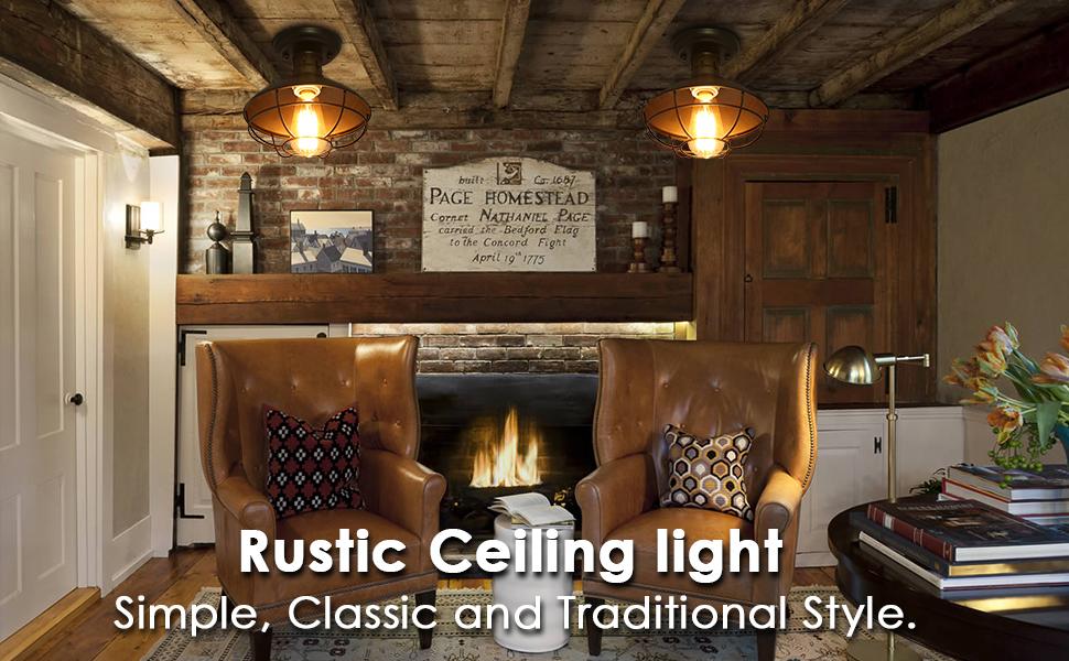 Kingso Industrial Metal Cage Ceiling Light E26 Rustic Mini Semi Flush Mounted Pendant Lighting