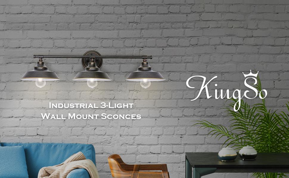 Delicieux KingSo 3 Light Bathroom Vanity Light Industrial Metal Wall Mount Sconce  Lampshade For Bathroom, Kitchen, Living Room, Foyer, Bedroom