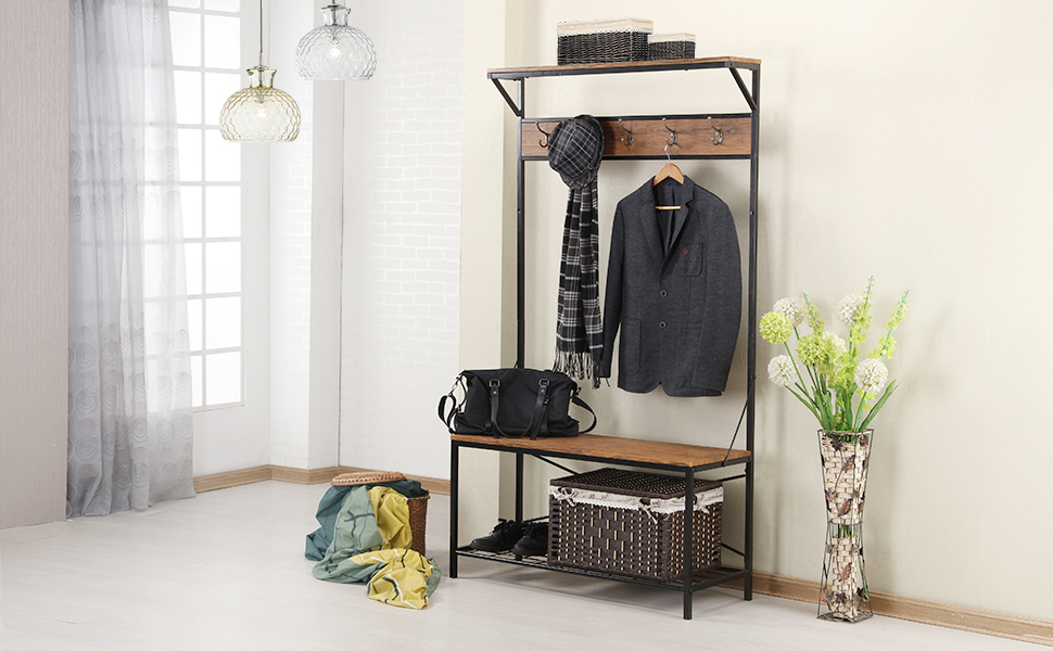 Hall Tree Coat Rack Bench for Entryway