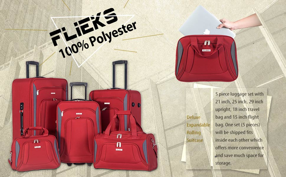 """Flieks 5 Piece Luggage Set Deluxe Expandable Rolling Suitcase 20"""" luggage 24"""" luggage 28"""" luggage"""