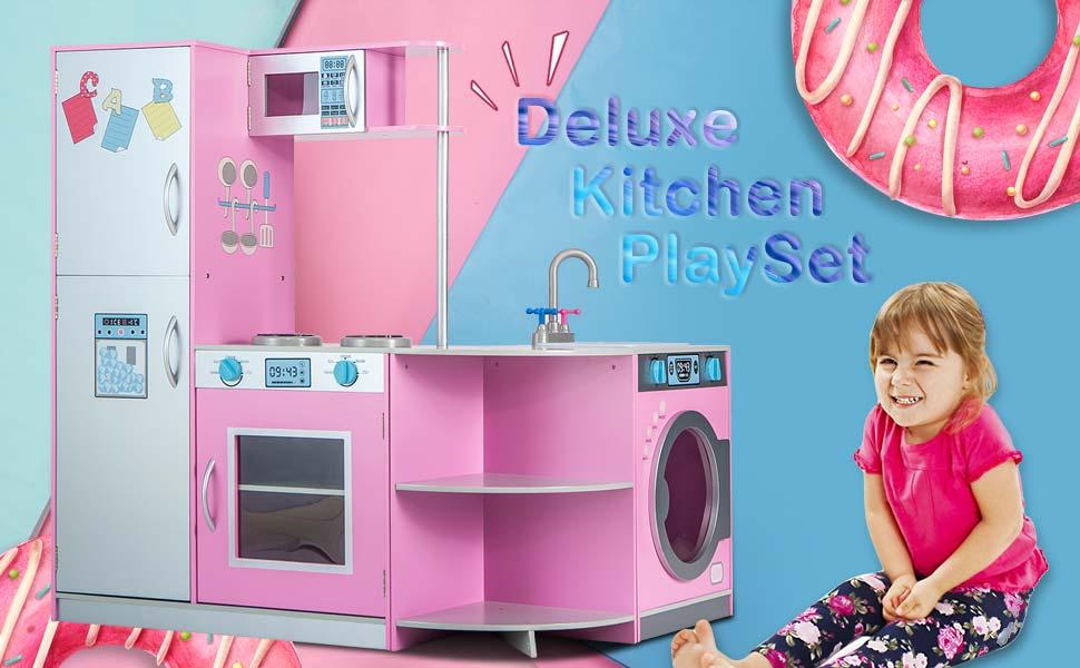 Amazon Com Merax Kids Play Kitchen Set Pretend Kitchen Playset For