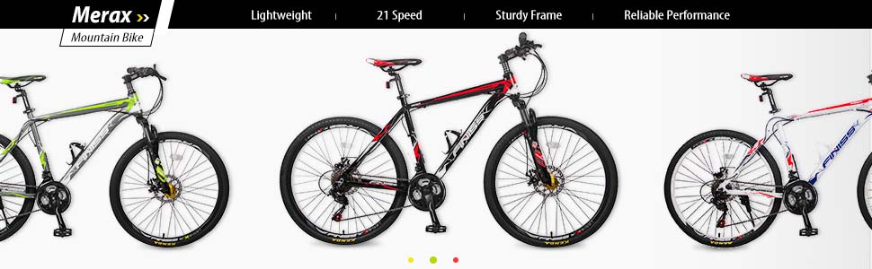 "Merax Finiss 26"" Aluminum 21 Speed Mountain Bike Disc Brakes MTB Full Suspension bicycle commuter"