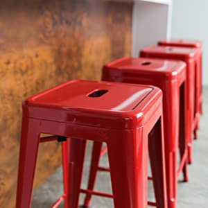 This isnu0027t like those wobbly cheap metal stools. This is the real deal. & Amazon.com: 24u201d Counter Height Bar Stools! (RED) by UrbanMod ... islam-shia.org