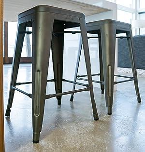 Awe Inspiring Urbanmod 24 Inch Bar Stools For Kitchen Counter Height Indoor Outdoor Metal Rustic Gunmetal Beatyapartments Chair Design Images Beatyapartmentscom