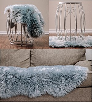 Tremendous Chanasya Super Soft Faux Fur Fake Sheepskin Grey Sofa Couch Stool Casper Vanity Chair Cover Rug Solid Shag Area Rugs For Living Bedroom Floor Slate Caraccident5 Cool Chair Designs And Ideas Caraccident5Info