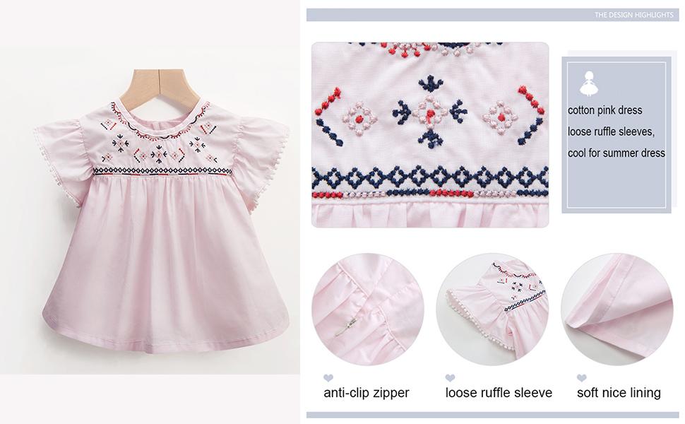 Amazon.com: Rosa vestidos para niñas verano vestido de bebé ...