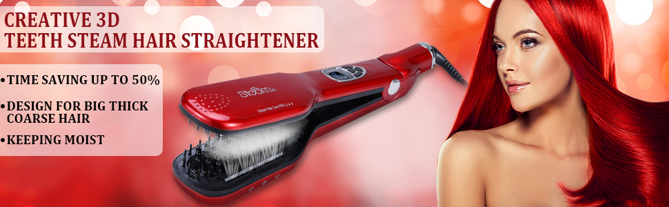 Steam hair straightener ceramic fast heat up straightener straightener brush steam flat iron