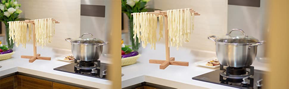 natural beechwood pasta drying rack stand kitchen noodle rack easy storage