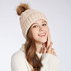 Winter Fleece Women Knit Hat