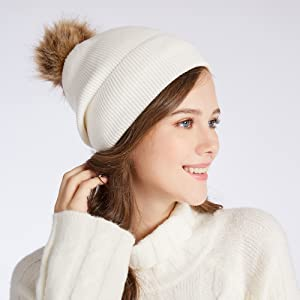 Knit Hat Lined Warm Women Cap