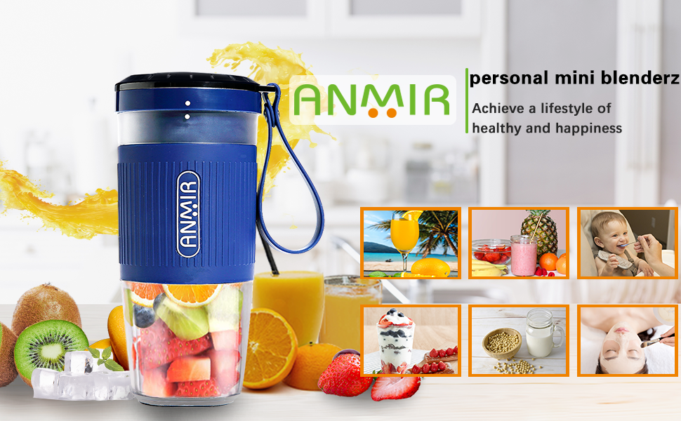 ANMIR Portable Mini Blender Personal Small Cordless Blender Juicer Mixer for Smoothies and Shakes with 10oz Juice Cup USB Rechargeable for Travel ...