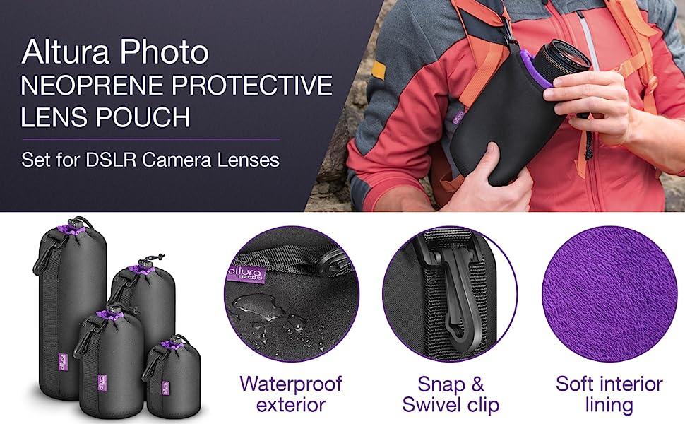 Neoprene Lens Pouch 4 Pack