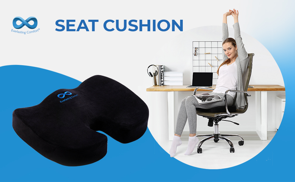 Everlasting Comfort Memory Foam Seat Cushion Designed For Back Hip And Tailbone Pain Fits Office Chair And Car