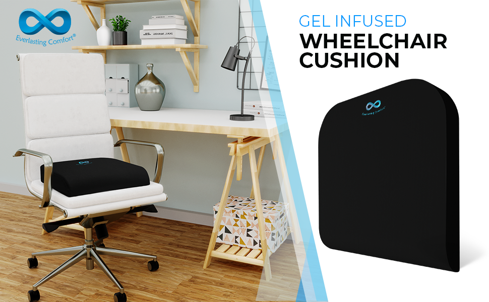Everlasting Comfort 100% Pure Memory Foam Wheelchair Seat Cushion - Gel Infused and Ventilated - Designed for Hip and Tailbone Pain - Fits Office ...