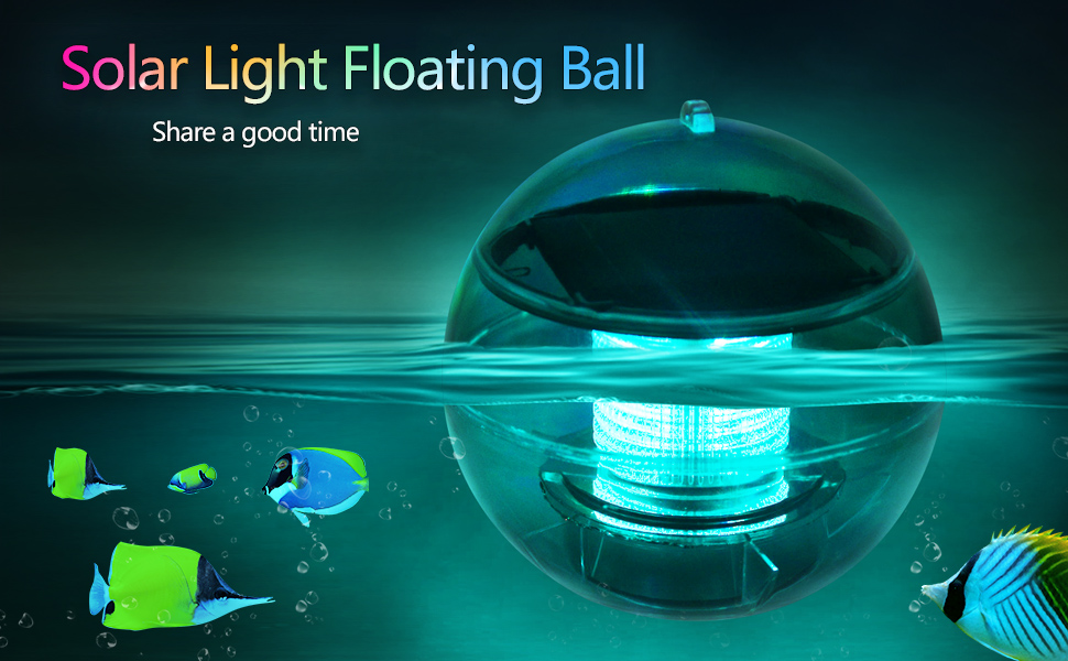 LETOUR Decorative Lights LED Solar Floating Pool Lights RGB Flash Lights, Colorful Lamps Floating Balls, Rechargeable Submersible Light Fixtures for Pool, Garden, Fountain, Pond, Great Gifts (2-Pack)