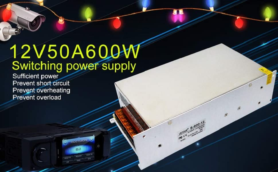 Computer Project Radio BMOUO 12V 30A DC Universal Regulated Switching Power Supply 360W for CCTV LED Strip Lights 3D Printer