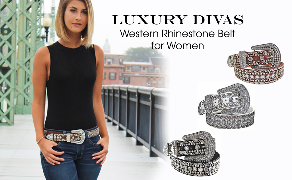 b39ee15bdfd46 Luxury Divas Rhinestone Studded Western Belt For Women