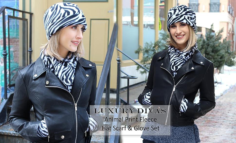 65e24c4b812 Black   White Zebra Print Fleece Hat Scarf   Matching Glove Set at ...