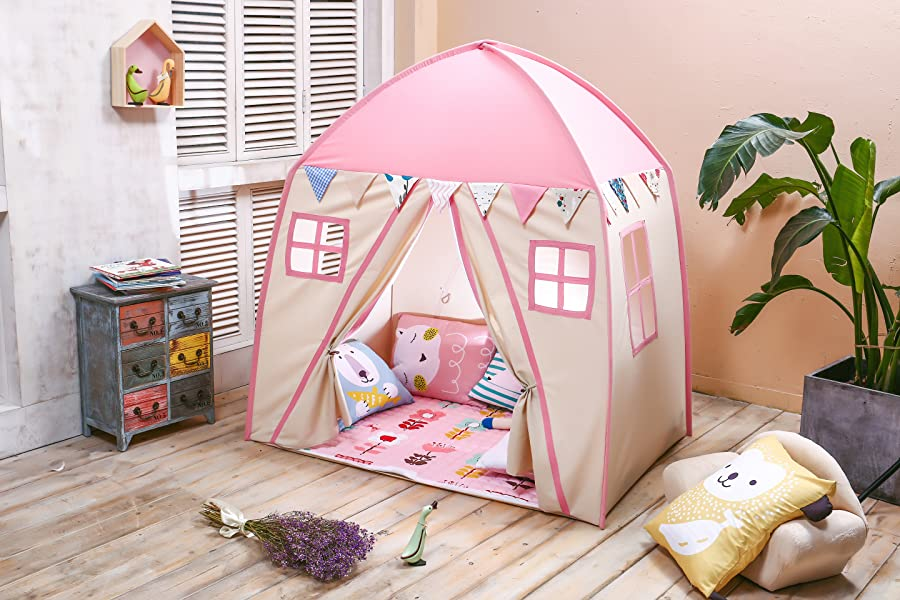 Kids Play Tent u0026 Playhouse Great for C&ing u0026 Partying Indoor/Outdoor Have Kids Pretend Playing in Their Own Private House & Amazon.com: love tree Kids Indoor Princess Castle Play Tents ...