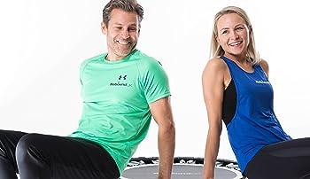 couple on rebound mini trampoline maximus life rebounder