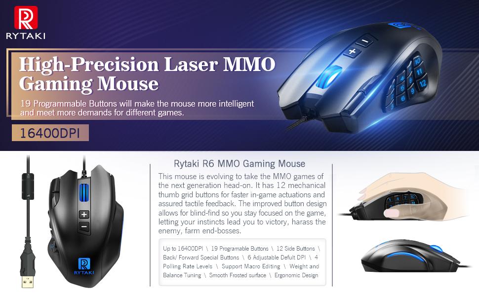 Amazon com: Gaming Mouse, Rytaki High-Precision 16400 DPI Laser MMO