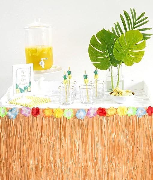 Amazon Com 2pcs Luau Hawaiian Grass Table Skirt