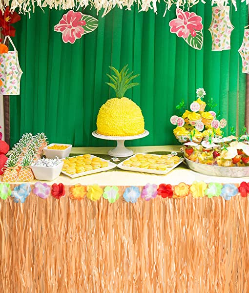 Amazon Com 2pcs Luau Hawaiian Grass Table Skirt